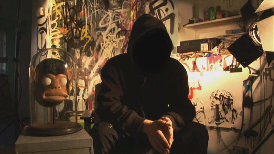 """Elusive street artist Banksy went from subject to filmmaker in """"Exit Through the Gift Shop."""" Via Cinetic Media."""