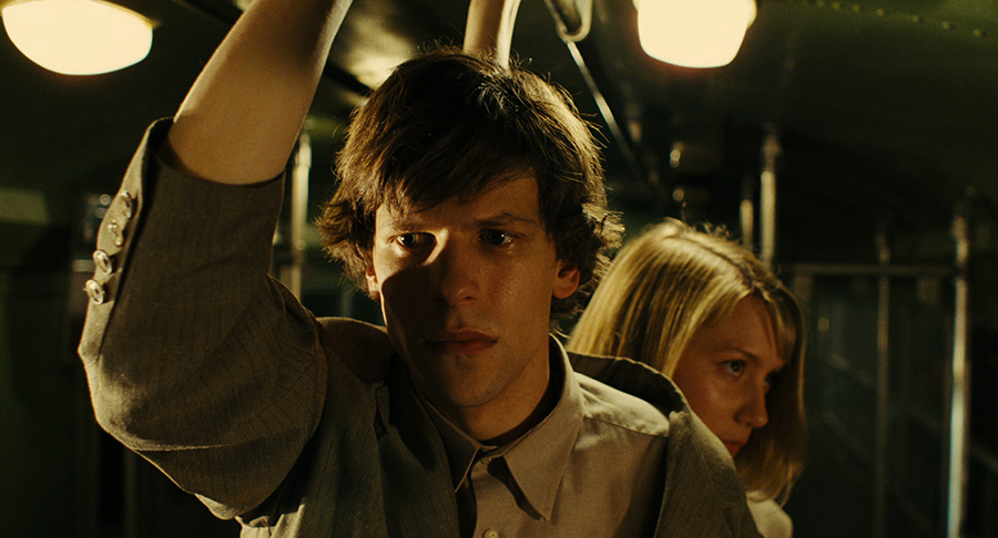 "Fun fact: The two young stars of our upcoming film ""The Double,"" Jesse Eisenberg and Mia Wasikowska, began dating each other after working on the film together. Via Magnolia Pictures."