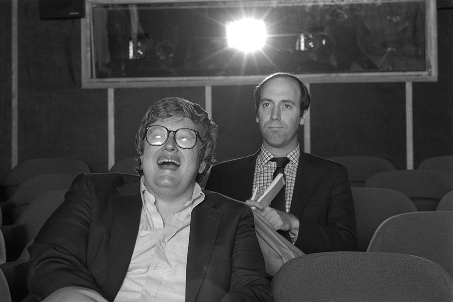 "Film critics Roger Ebert, front, and Gene Siskel popularized the ""Thumbs up, Thumbs down"" review system through their TV show in the 1980s and '90s. Photo by Kevin Horan, via Magnolia Pictures."