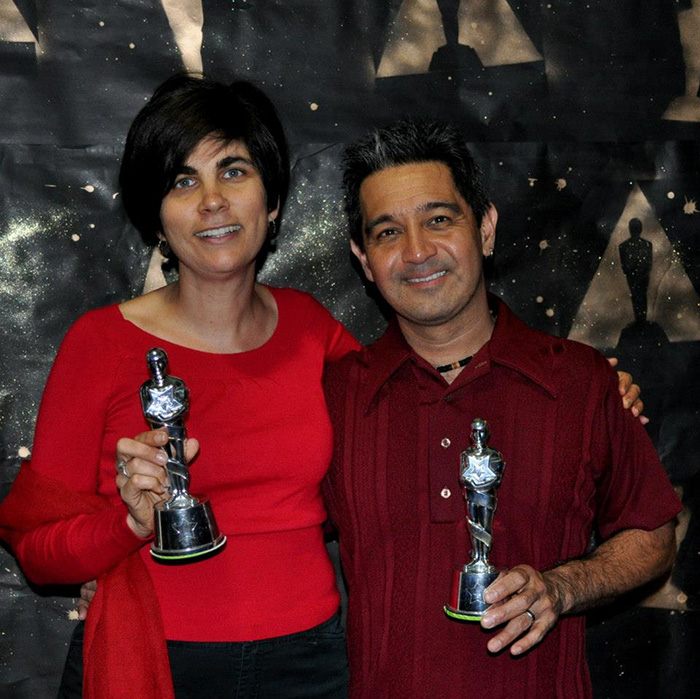 Our November volunteer in the spotlight is Filmworks advisory board member Sasha Khokha, pictured here with husband Karl Kaku and a pair of fake Oscars. Sasha recently won a real-life Emmy Award for her reporting work for KQED.