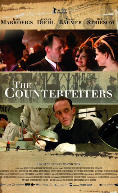theatrical poster for the counterfeiters