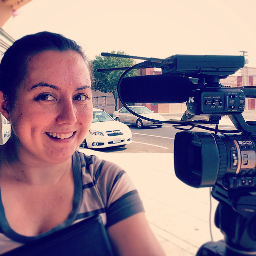 """Our summer 2014 intern Rebecca Horwitz behind the camera at the Tower Theatre, while making our featured video for """"Life Itself."""""""
